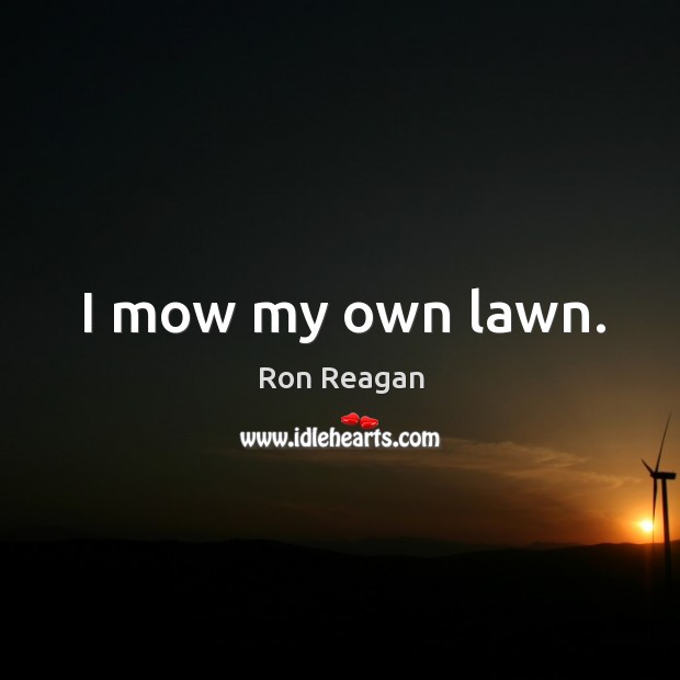 I mow my own lawn. Image