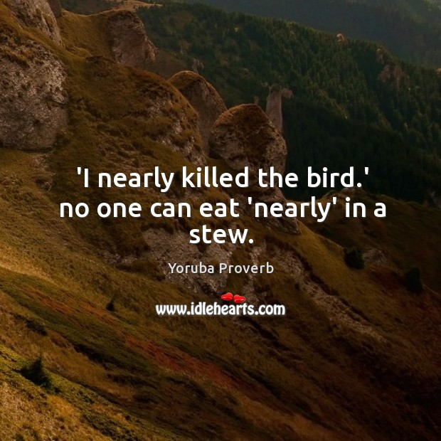 'I nearly killed the bird.' no one can eat 'nearly' in a stew. Yoruba Proverbs Image