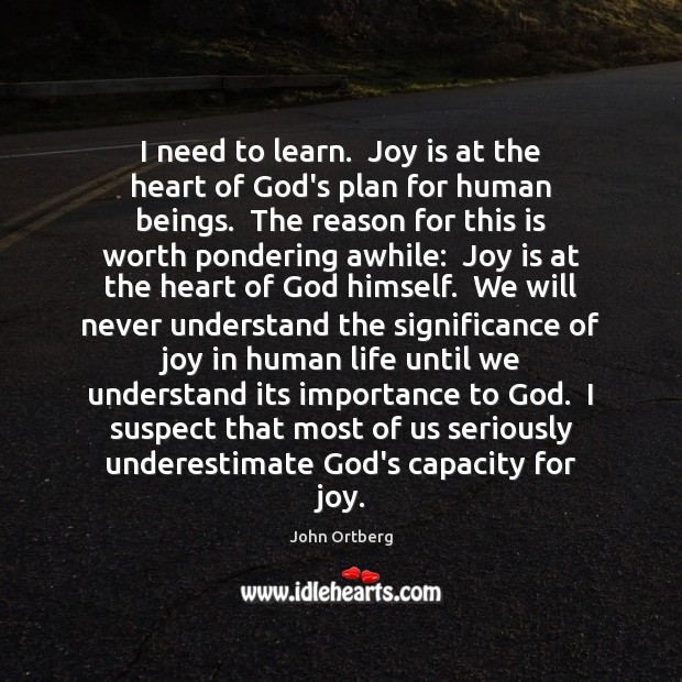 I need to learn.  Joy is at the heart of God's plan John Ortberg Picture Quote