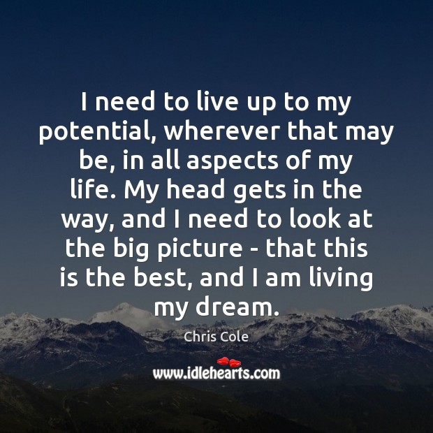 I need to live up to my potential, wherever that may be, Image