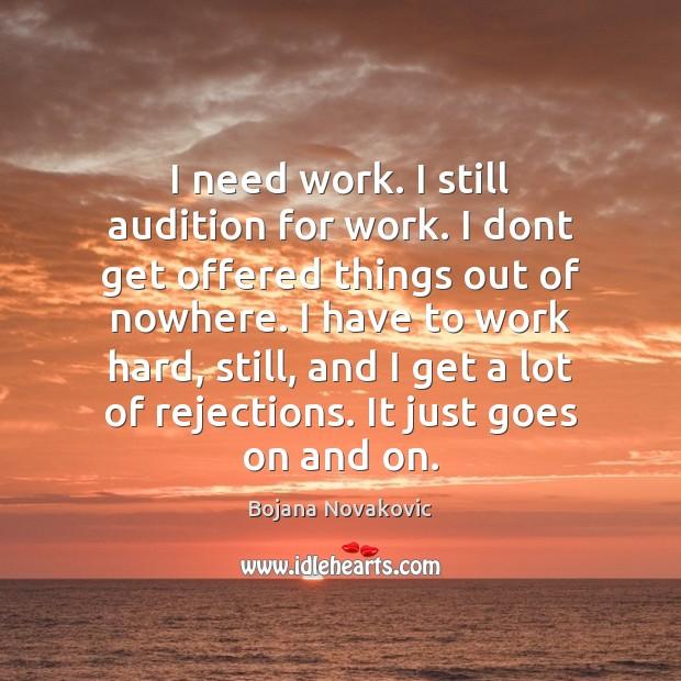 Image, I need work. I still audition for work. I dont get offered