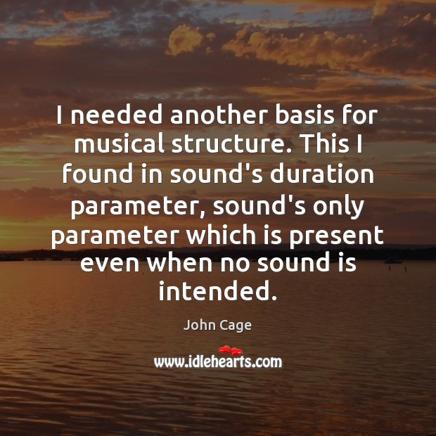 I needed another basis for musical structure. This I found in sound's Image