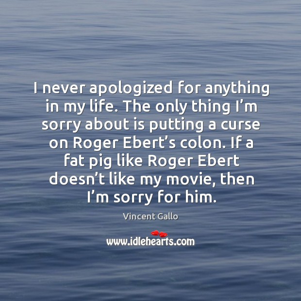 Image, I never apologized for anything in my life.