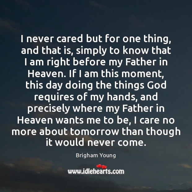 I never cared but for one thing, and that is, simply to Brigham Young Picture Quote