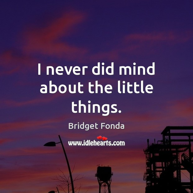 I never did mind about the little things. Image