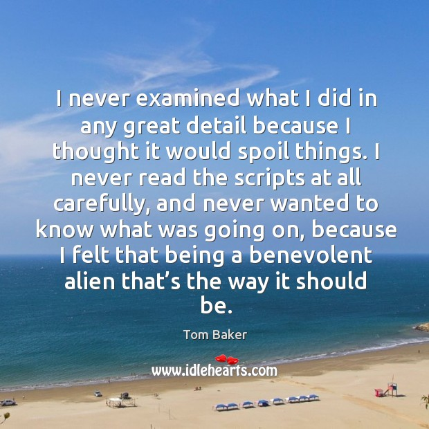 I never examined what I did in any great detail because I thought it would spoil things. Tom Baker Picture Quote