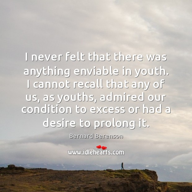 I never felt that there was anything enviable in youth. I cannot Bernard Berenson Picture Quote