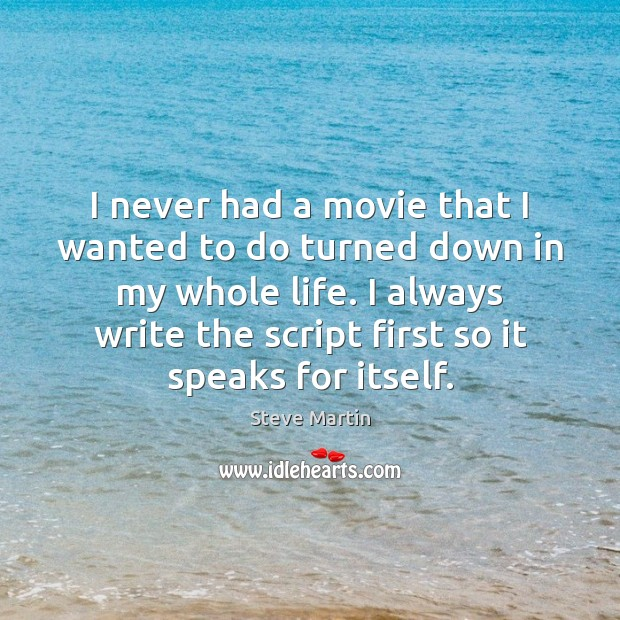 I never had a movie that I wanted to do turned down Steve Martin Picture Quote