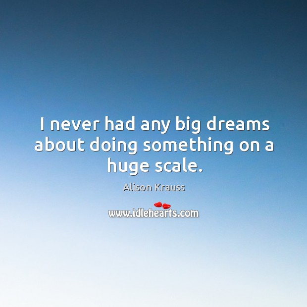 I never had any big dreams about doing something on a huge scale. Alison Krauss Picture Quote