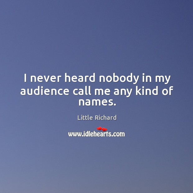 I never heard nobody in my audience call me any kind of names. Little Richard Picture Quote