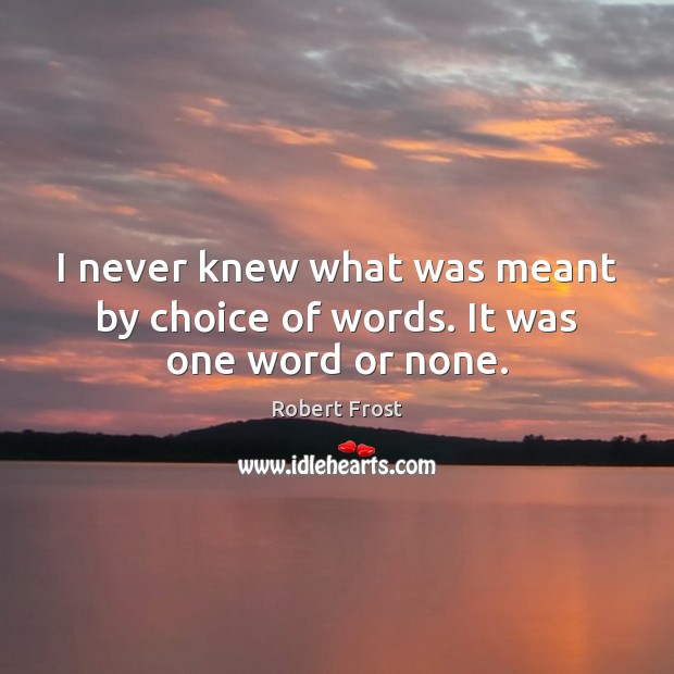 I never knew what was meant by choice of words. It was one word or none. Robert Frost Picture Quote