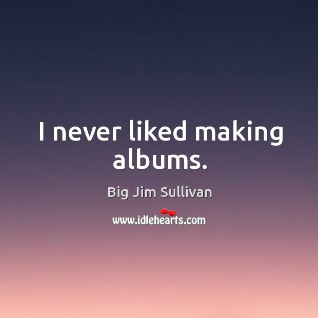 I never liked making albums. Big Jim Sullivan Picture Quote