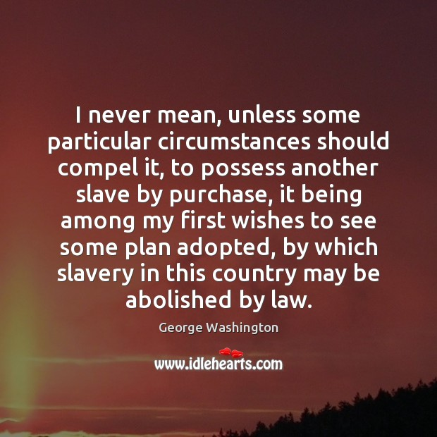 I never mean, unless some particular circumstances should compel it, to possess George Washington Picture Quote