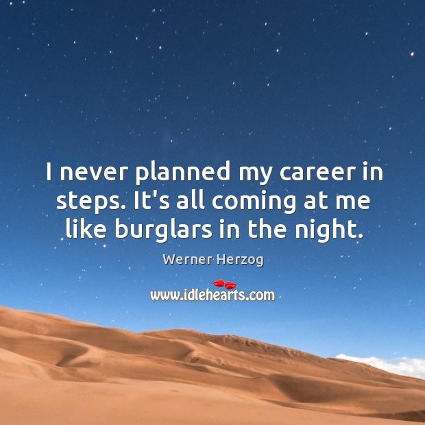 I never planned my career in steps. It's all coming at me like burglars in the night. Image