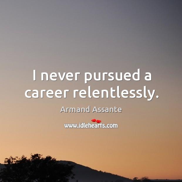 I never pursued a career relentlessly. Image