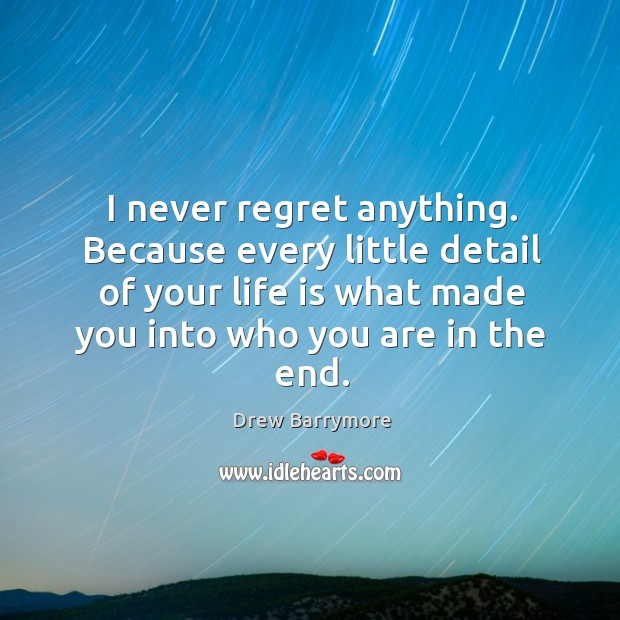 I never regret anything. Because every little detail of your life is what made you into who you are in the end. Never Regret Quotes Image