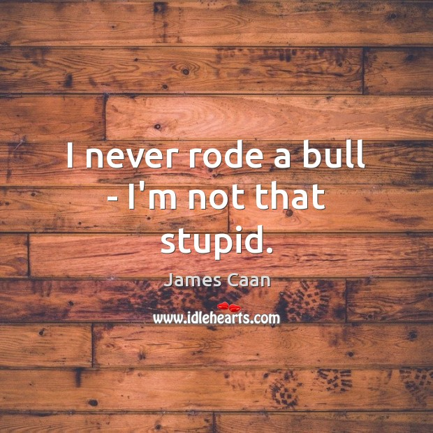 I never rode a bull – I'm not that stupid. James Caan Picture Quote