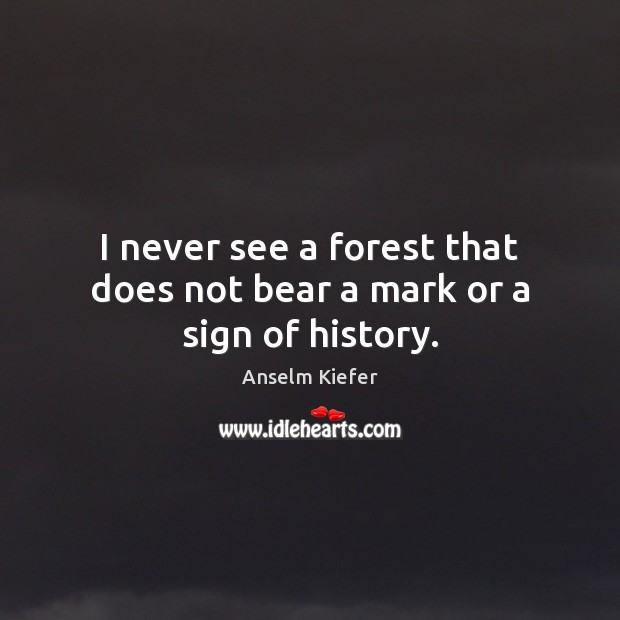 Image, I never see a forest that does not bear a mark or a sign of history.