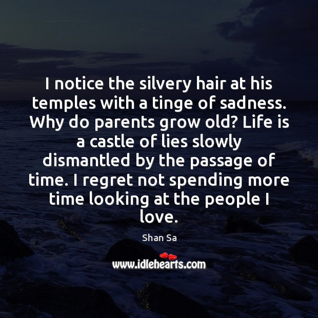 Image, I notice the silvery hair at his temples with a tinge of