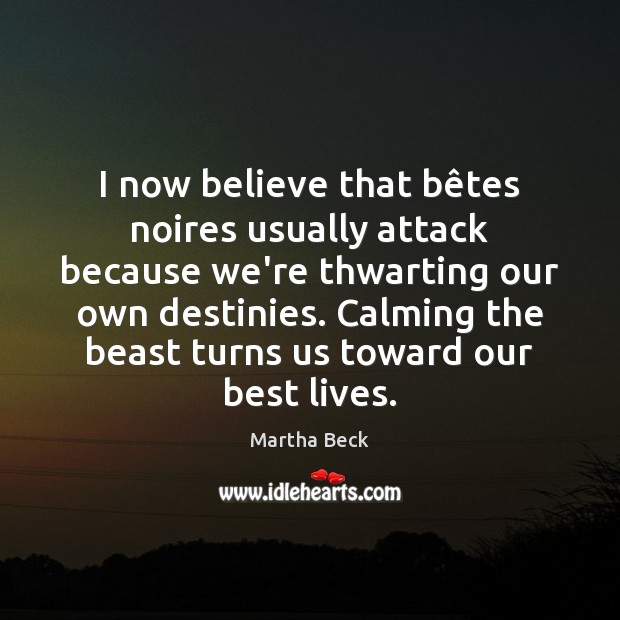 I now believe that bêtes noires usually attack because we're thwarting Martha Beck Picture Quote
