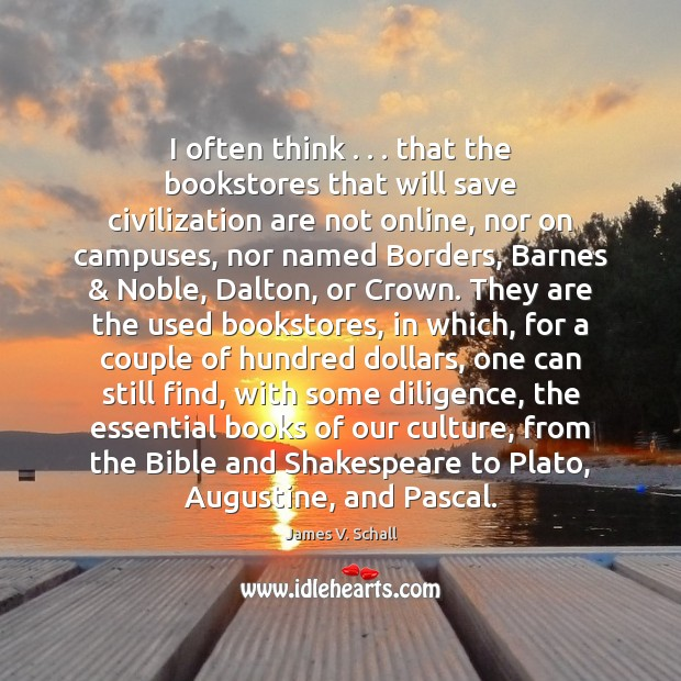Image, I often think . . . that the bookstores that will save civilization are not
