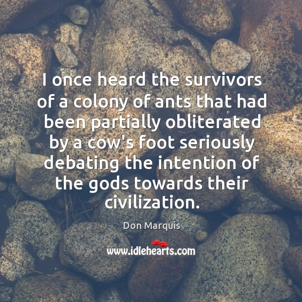 I once heard the survivors of a colony of ants that had Don Marquis Picture Quote