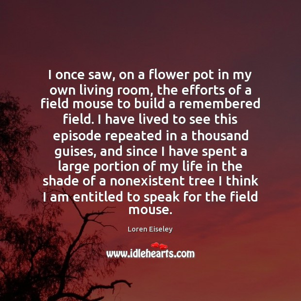 I once saw, on a flower pot in my own living room, Loren Eiseley Picture Quote