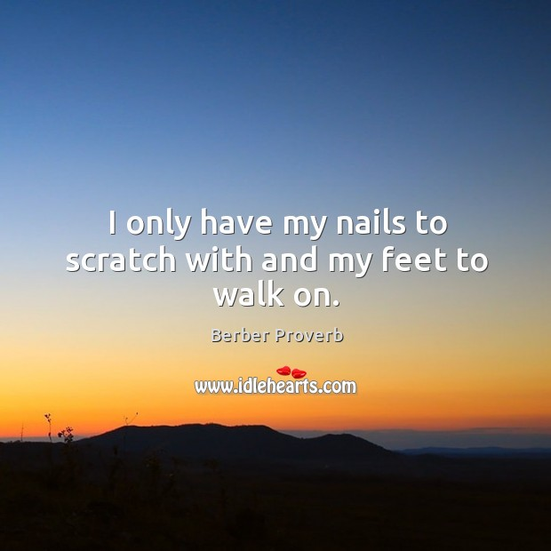 Image, I only have my nails to scratch with and my feet to walk on.