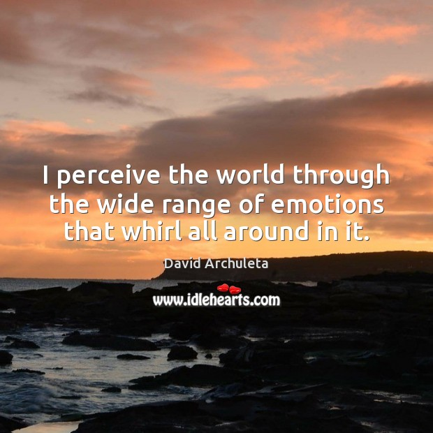 Image, I perceive the world through the wide range of emotions that whirl all around in it.