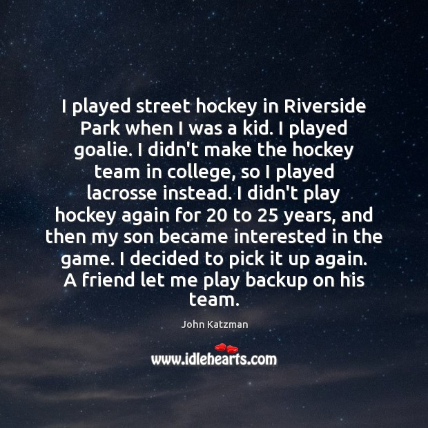 I played street hockey in Riverside Park when I was a kid. Image