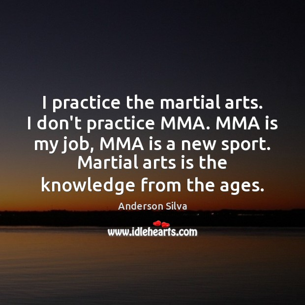 Image, I practice the martial arts. I don't practice MMA. MMA is my