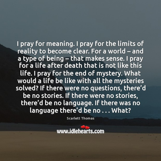 I pray for meaning. I pray for the limits of reality to Image