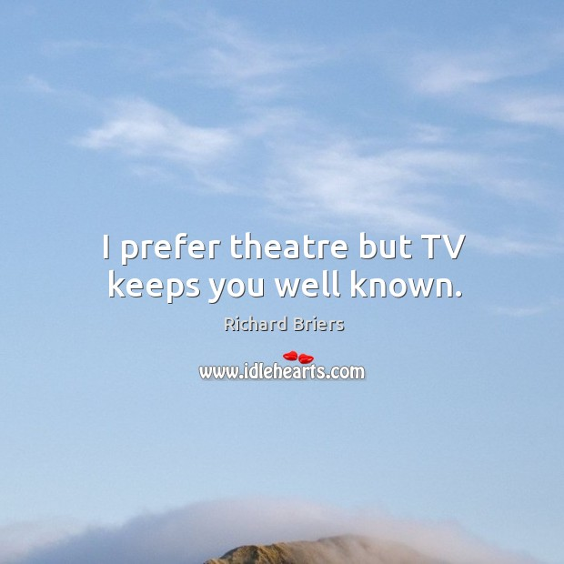 I prefer theatre but tv keeps you well known. Richard Briers Picture Quote