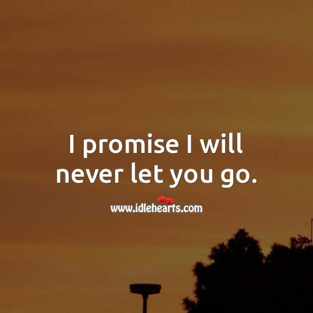 I promise I will never let you go. Promise Quotes Image