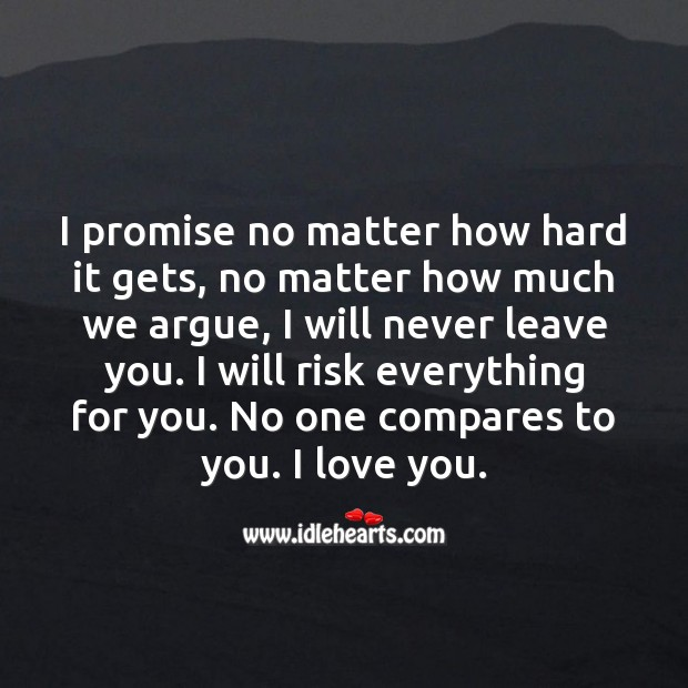 I promise no matter how hard it gets, I will never leave you. Promise Quotes Image