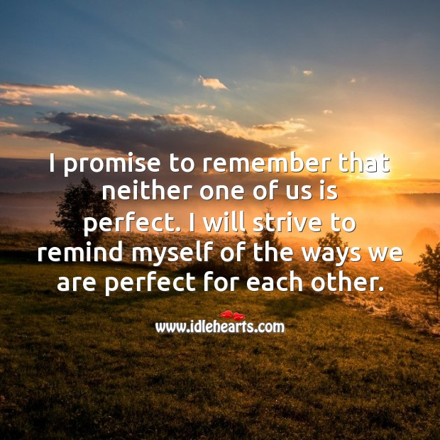 I promise to remember that neither one of us is perfect. Marriage Quotes Image