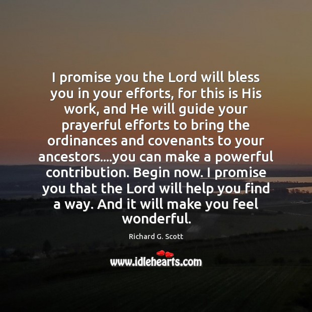 I promise you the Lord will bless you in your efforts, for Richard G. Scott Picture Quote