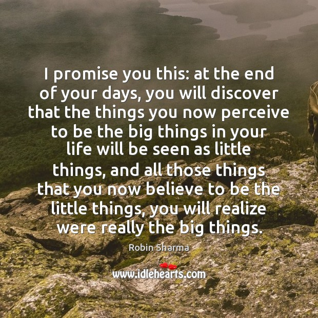 I promise you this: at the end of your days, you will Robin Sharma Picture Quote
