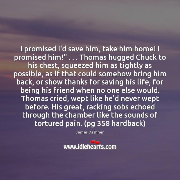 "I promised I'd save him, take him home! I promised him!"" . . . Thomas Image"