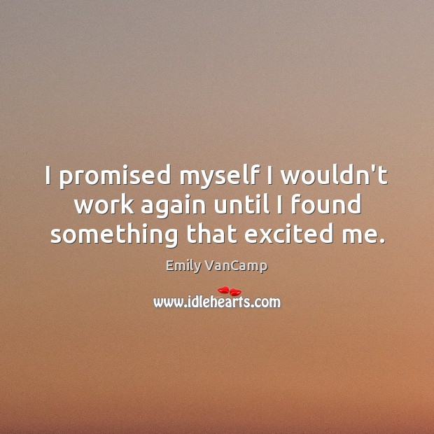 I promised myself I wouldn't work again until I found something that excited me. Emily VanCamp Picture Quote