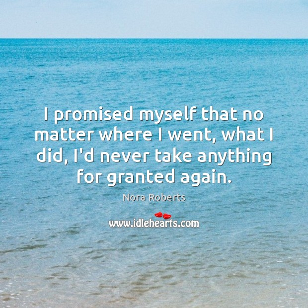 I promised myself that no matter where I went, what I did, Nora Roberts Picture Quote
