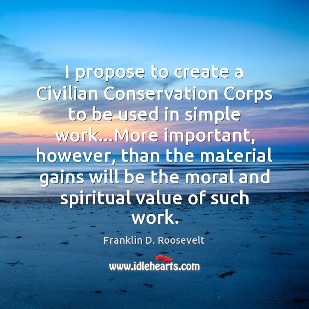 I propose to create a Civilian Conservation Corps to be used in Value Quotes Image