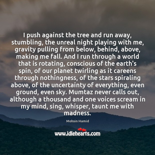 I push against the tree and run away, stumbling, the unreal night Mohsin Hamid Picture Quote
