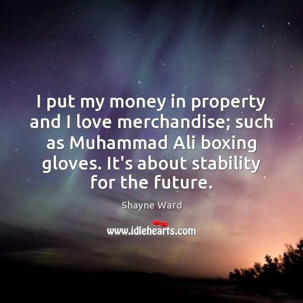 I put my money in property and I love merchandise; such as Image