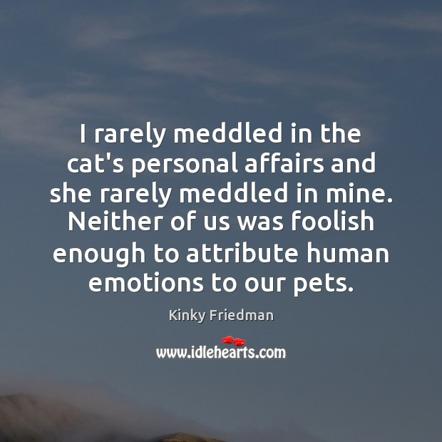 I rarely meddled in the cat's personal affairs and she rarely meddled Image