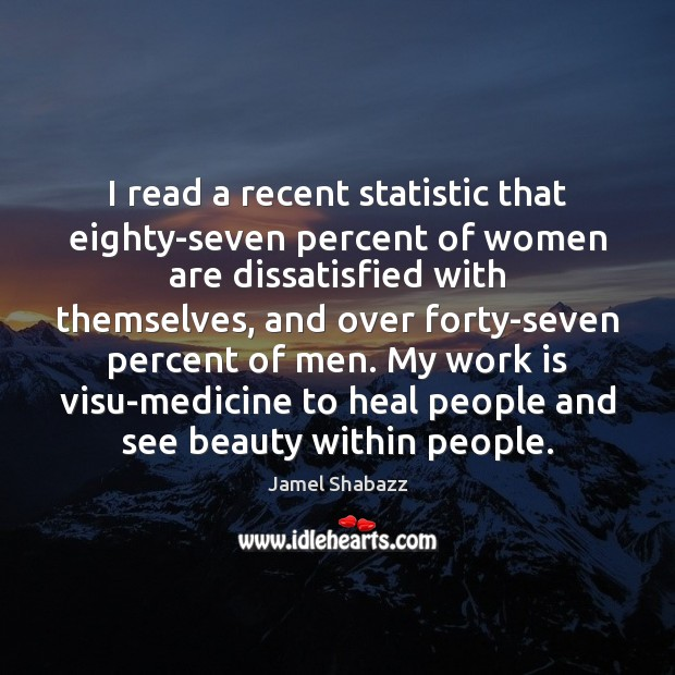 Image, I read a recent statistic that eighty-seven percent of women are dissatisfied