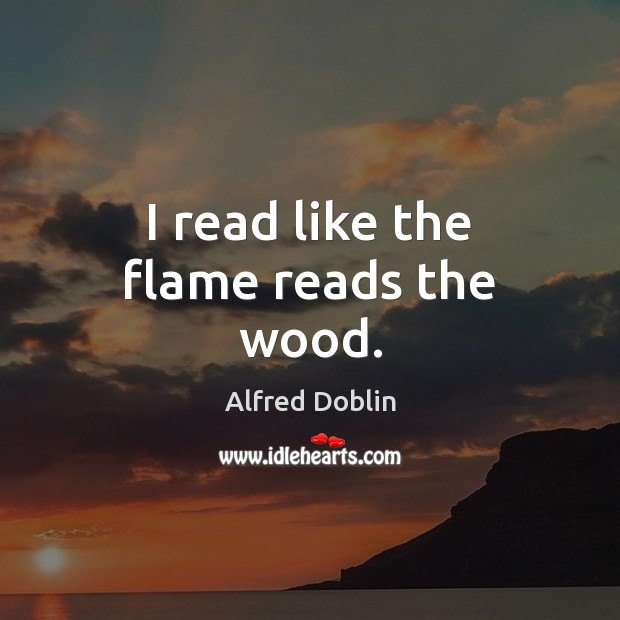 Image, I read like the flame reads the wood.