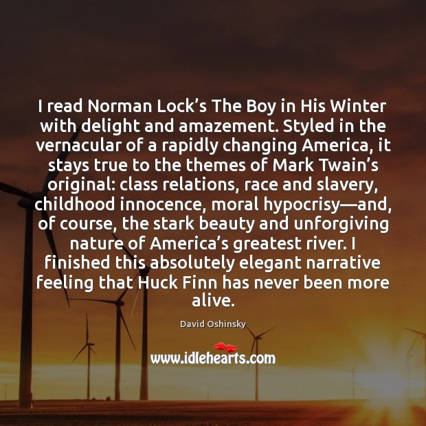 Image, I read Norman Lock's The Boy in His Winter with delight
