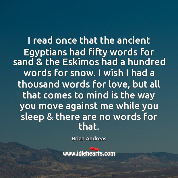 Image, I read once that the ancient Egyptians had fifty words for sand & the Eskimos had a hundred words for snow.
