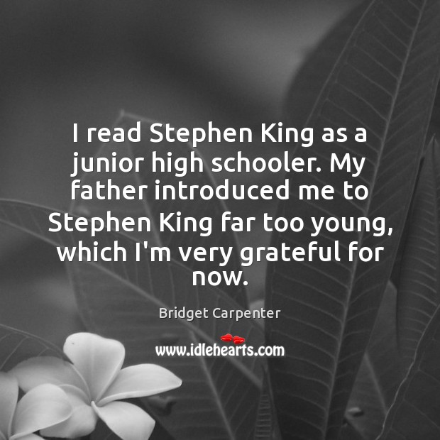 Image, I read Stephen King as a junior high schooler. My father introduced